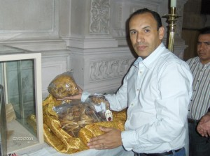 From MI CAMINO Facebook, the vice-postulator for the canonization of Bl. Joselito with the relics.