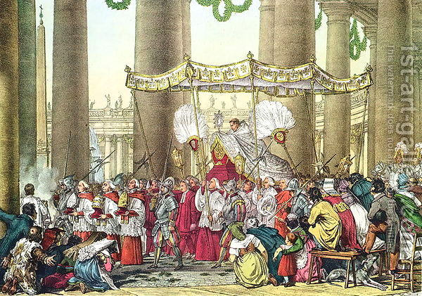 The-Papal-Procession-On-The-Feast-Of-Corpus-Christi,-Engraved-By-Francois-Alexandre-Villain-1798-1884