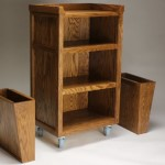 Red oak cart shown with the side boxes detached