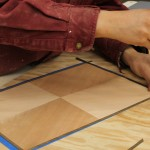 Cutting a veneer border with a chisel