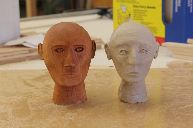 Comparing the clay model to the final product