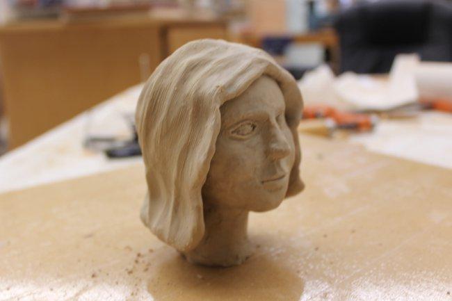 Clay model of female head