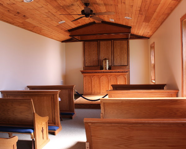 Altar, rail and pews for small oratory