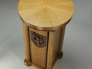 Click to read more and see detailed clost-ups of this oak statue pedestal