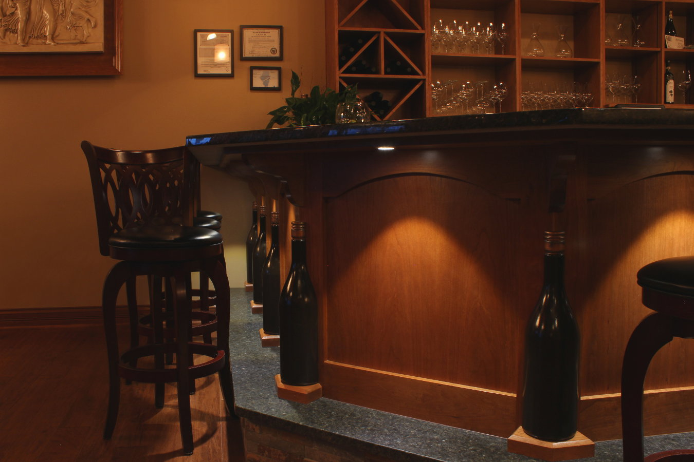 Custom made cabinetry specialty woodworking for Custom wine bar