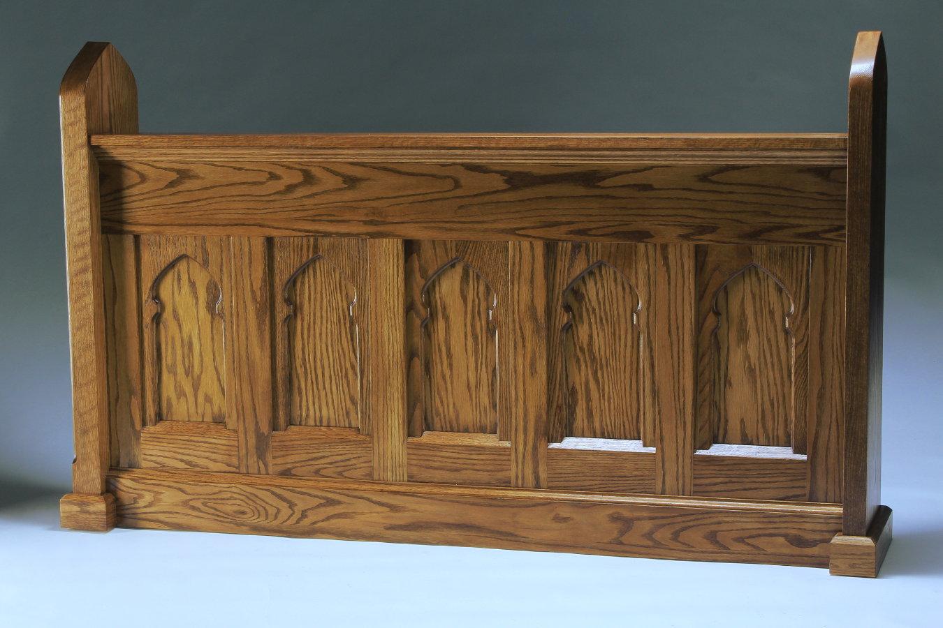 custom oak pew front