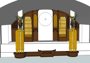 visualization of walnut facade for pipe organ