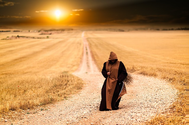 Monk walking through field
