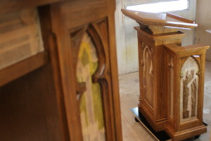 pulpit getting a fresh coat of finish