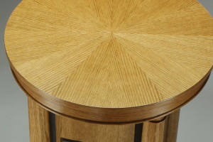 oak pedestal with decorative veneer top