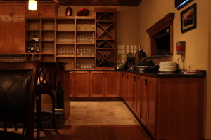 cherry cabinets in wine bar